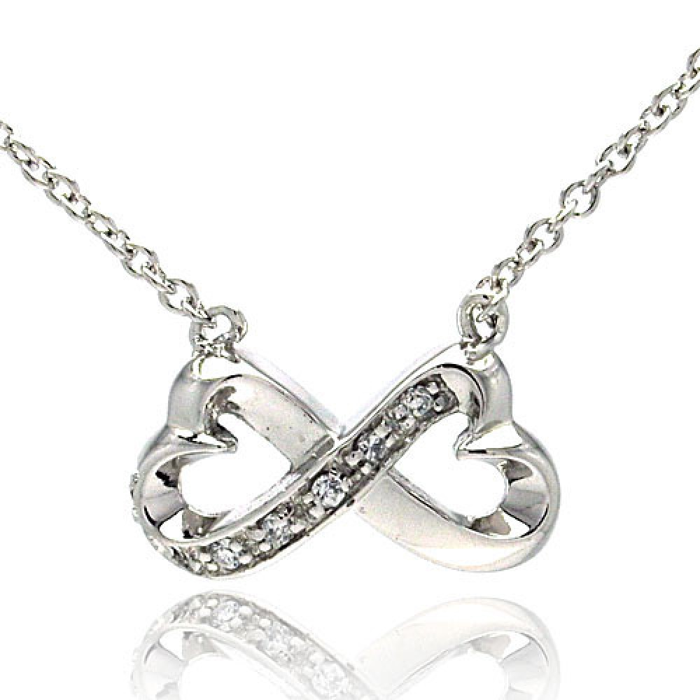 "Sterling Silver ""Infinity Hearts"" Necklace"